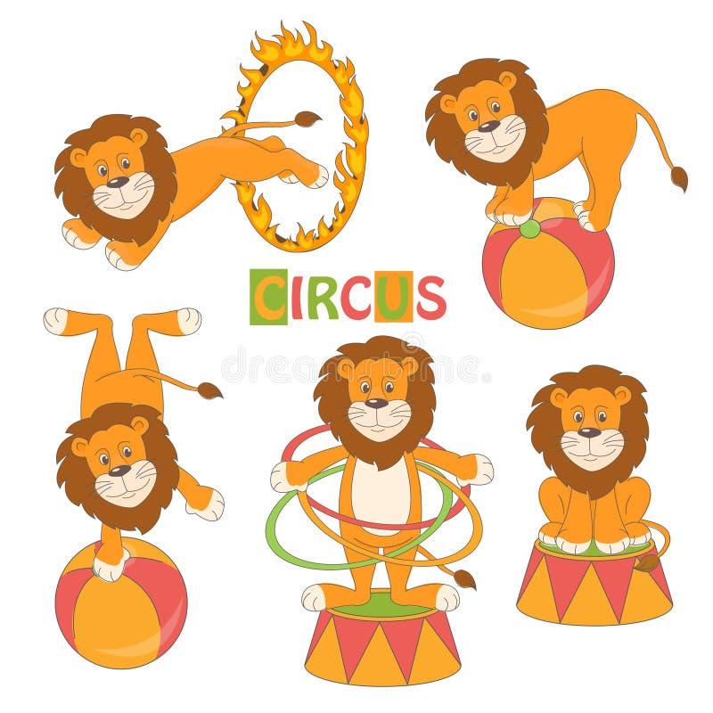 Kolekcja śliczny cyrkowy lew ilustracja wektor