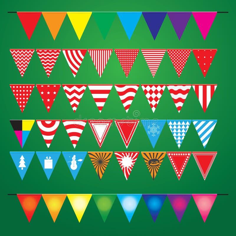 Kolekcja świąteczne dekoracyjne flaga dla wakacje royalty ilustracja
