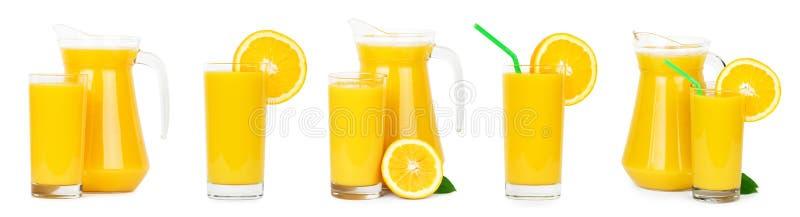 Kolekcja świezi soki pomarańczowi zdjęcie stock