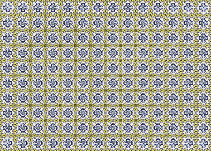 Kolekcja żółte i błękit wzorów płytki ilustracji