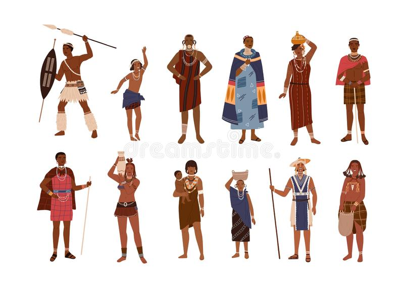 Kolekcja aborygen lub rdzenni narody Afryka ubierał w etnicznych ubraniach odizolowywających na białym tle Set ilustracja wektor