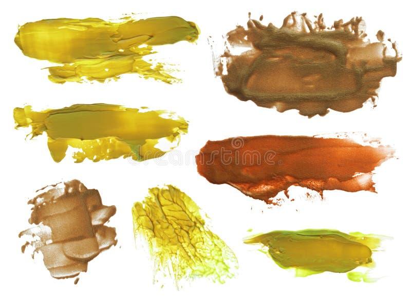 Kolekcja abstrakcjonistyczni akrylowi muśnięć uderzeń kleksy obrazy stock