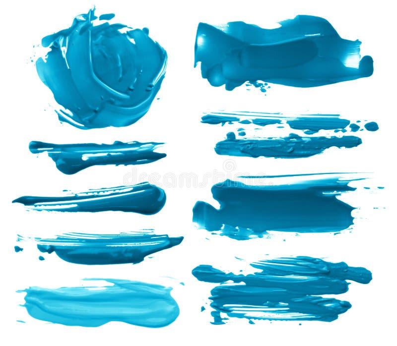 Kolekcja abstrakcjonistyczni akrylowi muśnięć uderzeń kleksy ilustracji