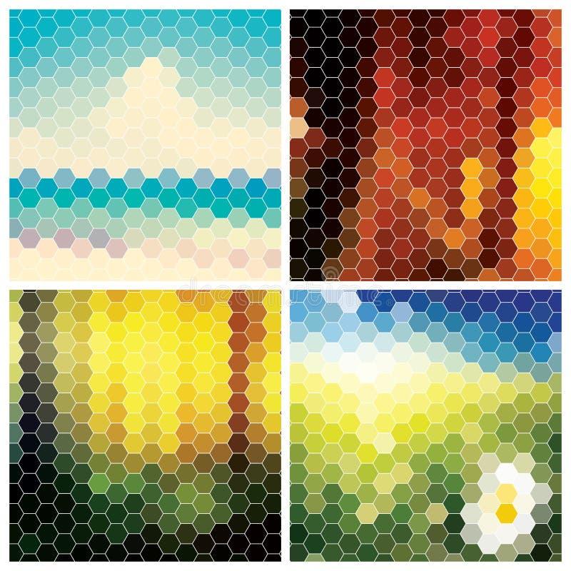 Kolekcja abstrakcjonistyczni geometryczni kolorowi tła ilustracja wektor