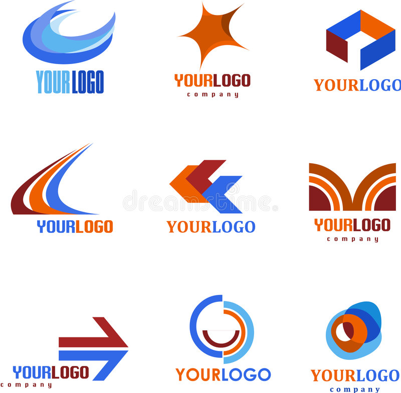 Kolekcja abstrakcjonistyczni logowie ilustracja wektor