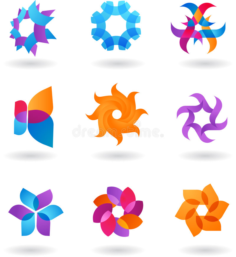 Kolekcja abstrakcjonistyczni logowie royalty ilustracja