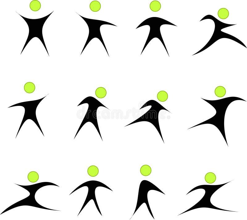 Kolekcja abstrakcjonistyczni ludzie logów ilustracji
