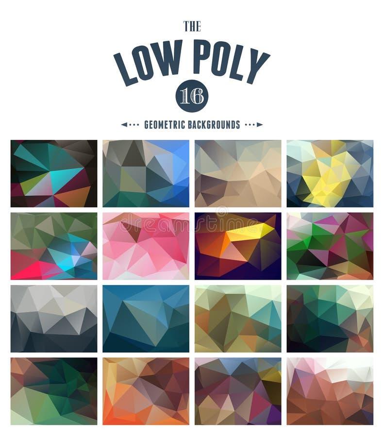 Kolekcja abstrakcjonistyczni poligonalni tła royalty ilustracja