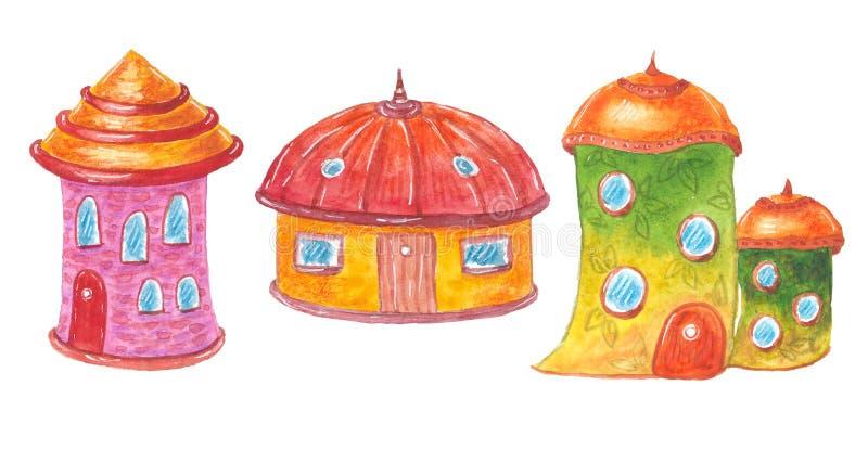 Kolekcja akwareli kreskówki śliczni domy royalty ilustracja