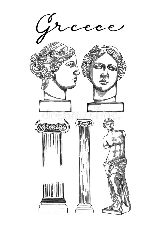 Kolekcja antyczne kolumny i rzeźby Wenus De Milo ilustracja wektor