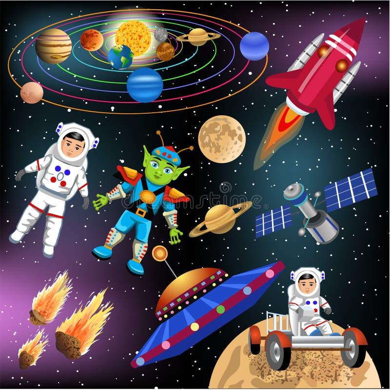 Kolekcja astronautyczne ikony i klamerek sztuki odizolowywać na białym tle ilustracja wektor