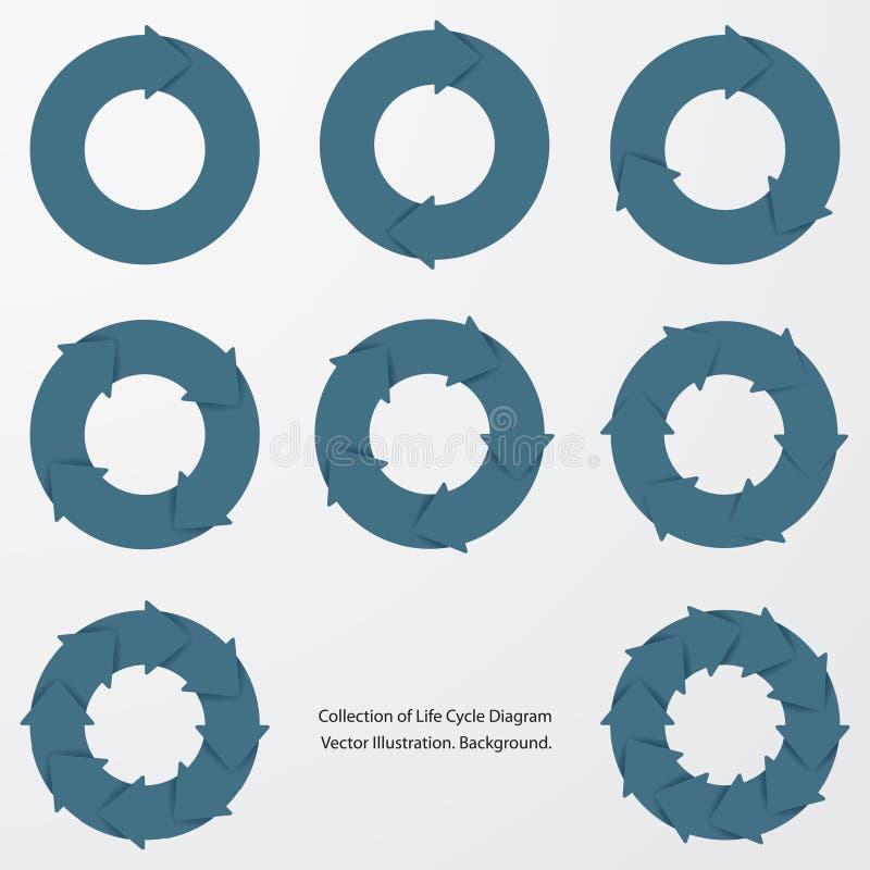 Kolekcja błękitnego koloru okręgu strzałkowaci przepływy royalty ilustracja
