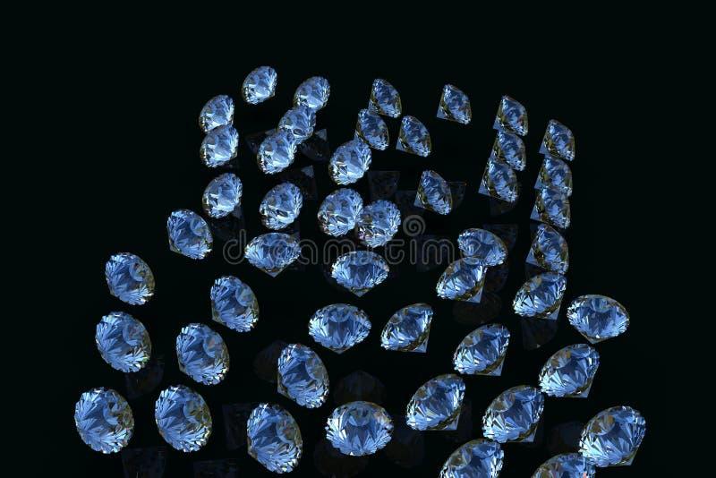 Kolekcja Błękitny Szafirowy diament 3D diamenty odpłacają się royalty ilustracja