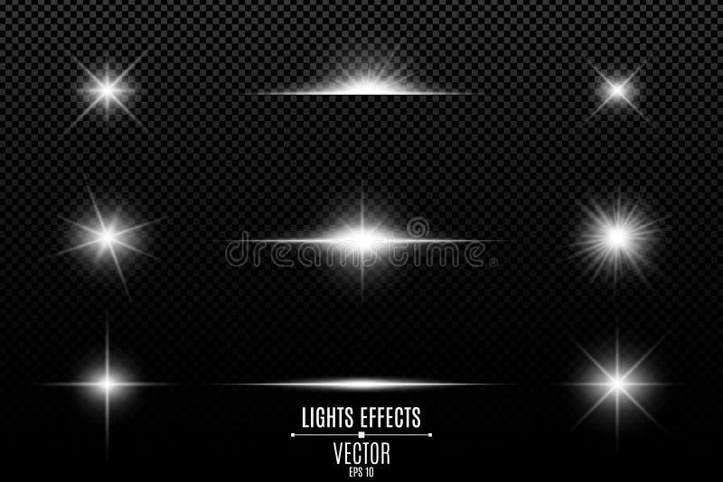 Kolekcja błyski, światła i iskry, Abstrakcjonistyczni światła białe odizolowywający na przejrzystym tle Jaskrawy bielu gla i błys ilustracja wektor
