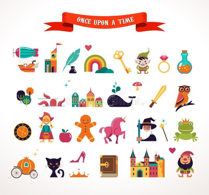 Kolekcja bajka elementy, ikony ilustracja wektor