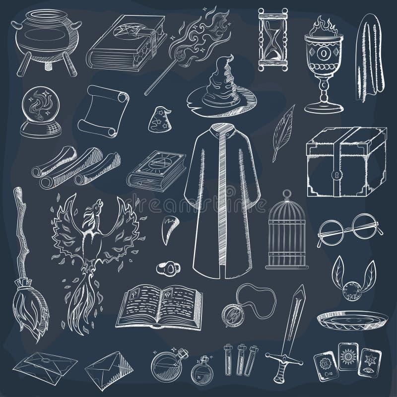 Kolekcja bawić się czarownika Rzecz magik: czarownik, kapelusz, magii książka, ślimacznica, napój miłosny, miotła, kryształowa ku ilustracji