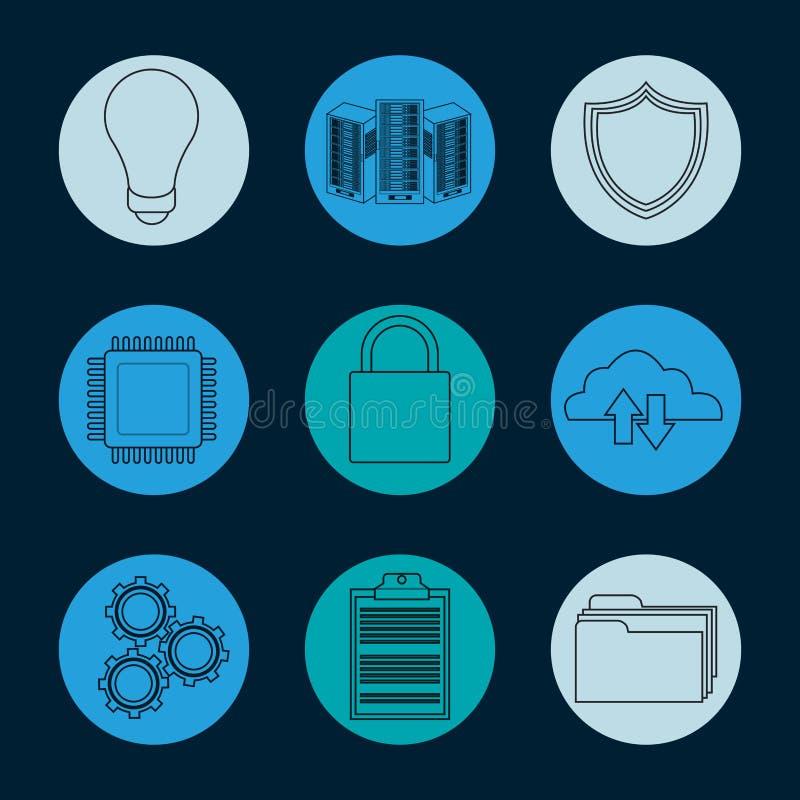 Kolekcja baz danych round ikony ilustracja wektor