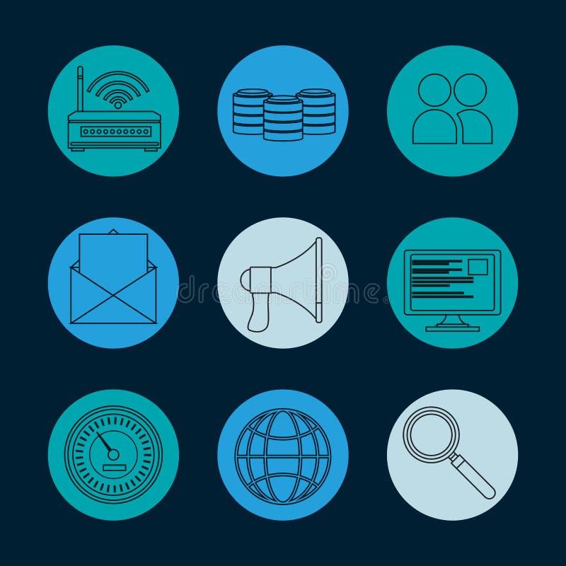 Kolekcja baz danych round ikony royalty ilustracja