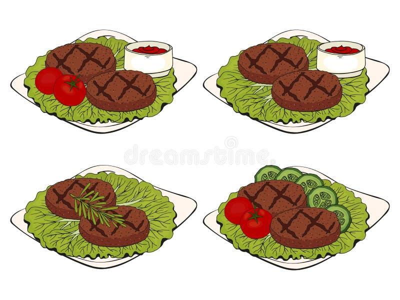 Kolekcja BBQ przedmioty set grillów elementy, kotleciki na talerzu, różni projektów naczynia ilustracji
