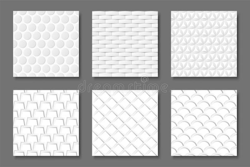 Kolekcja bezszwowe białe tekstury - 3d wzory Abstrakcjonistyczni geometryczni tła ilustracji