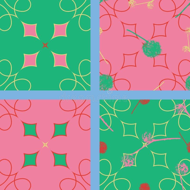 Kolekcja 4 bezszwowego wzoru, wszystkie cztery dopasowywa wpólnie, 2 z nasieniodajnymi piłkami Na abstrakcjonistycznym tle ilustracji