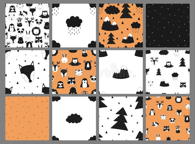 Kolekcja bezszwowi dziecko wzory Wektorowa pociągany ręcznie czarny i biały dziecko skandynawa ilustracja Wzór dla sztandaru, po ilustracji