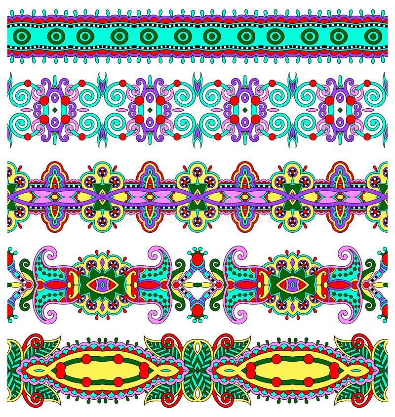 Kolekcja bezszwowi ornamentacyjni kwieciści lampasy ilustracja wektor