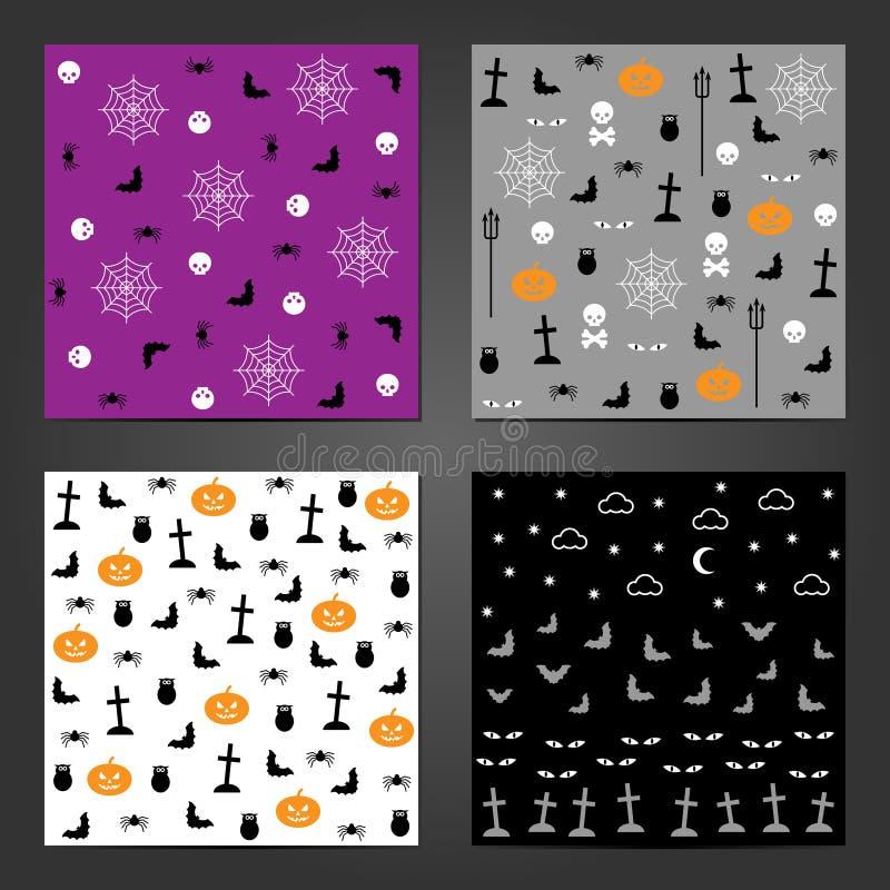 Kolekcja bezszwowi wzory dla Halloweenowego projekta ilustracji