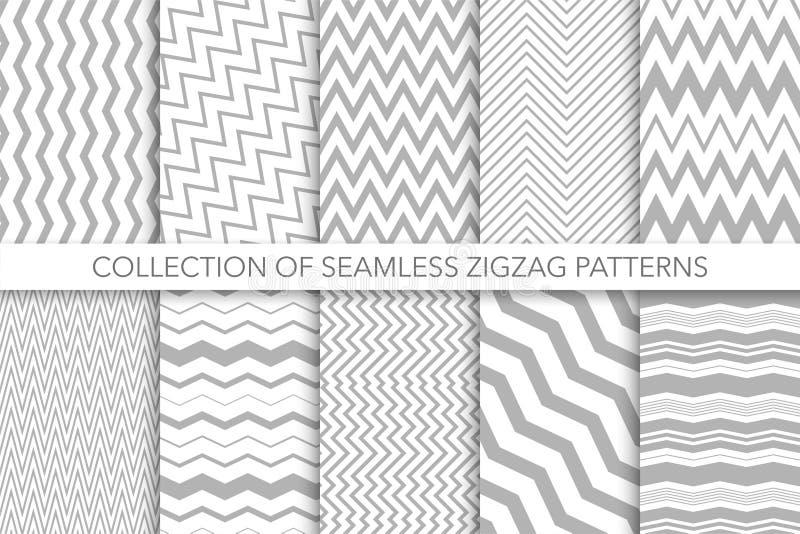 Kolekcja bezszwowi zygzakowaci wzory - wektorowy geometryczny projekt Klasyk pasiaste tekstury royalty ilustracja