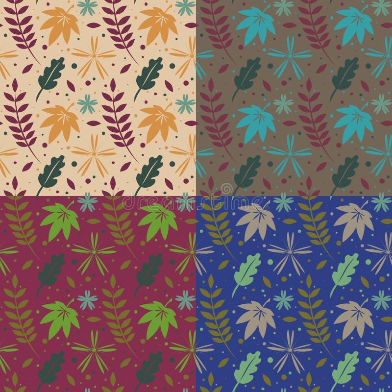 Kolekcja bezszwowy liścia uzorovosennie ilustracja wektor
