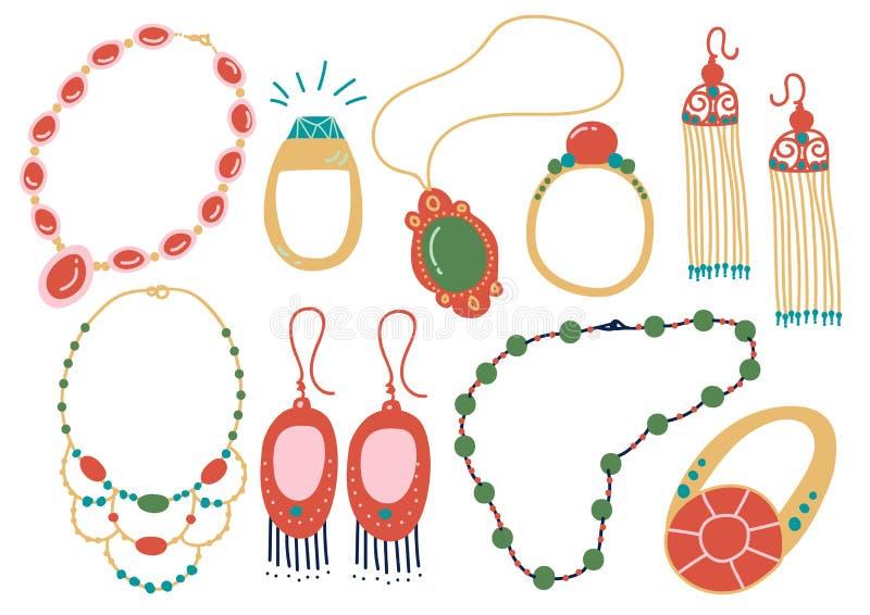 Kolekcja biżuterii akcesoria, kolia, kolczyki, breloczek, koraliki, Ringowa Wektorowa ilustracja ilustracja wektor