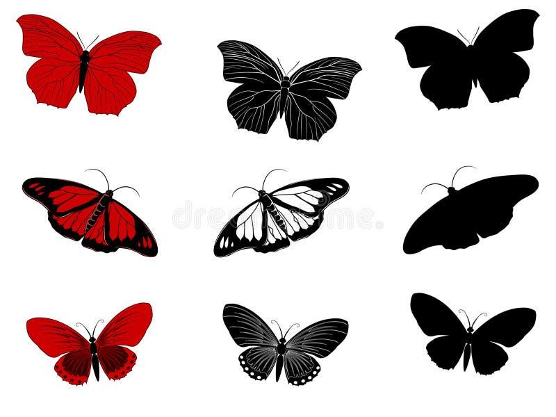 Kolekcja białe, czerwone i czarne sylwetki ręka rysujący motyle, royalty ilustracja
