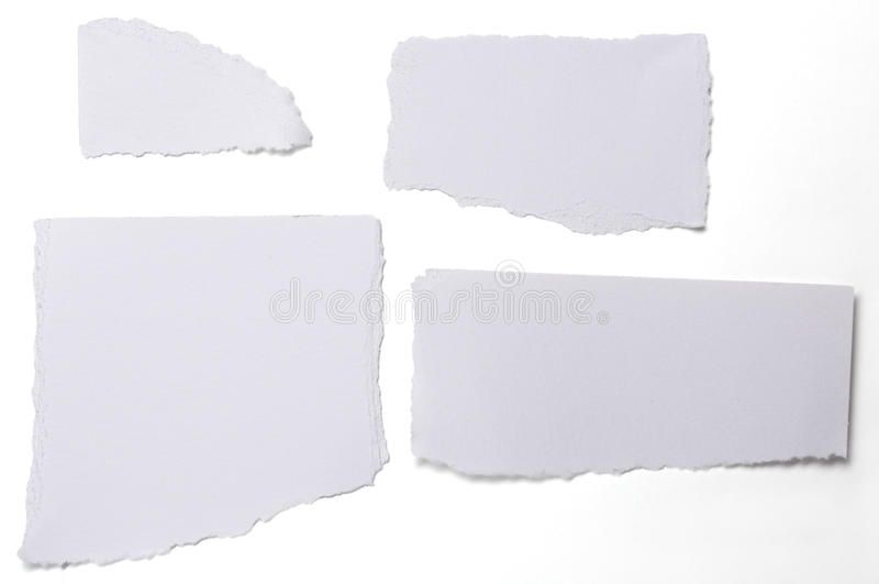 Kolekcja biel rozdzierający kawałki papieru na bielu zdjęcia royalty free