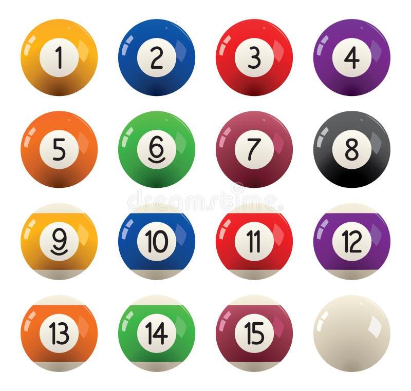 kolekcja bilardowe basen piłki z liczbami wektor royalty ilustracja