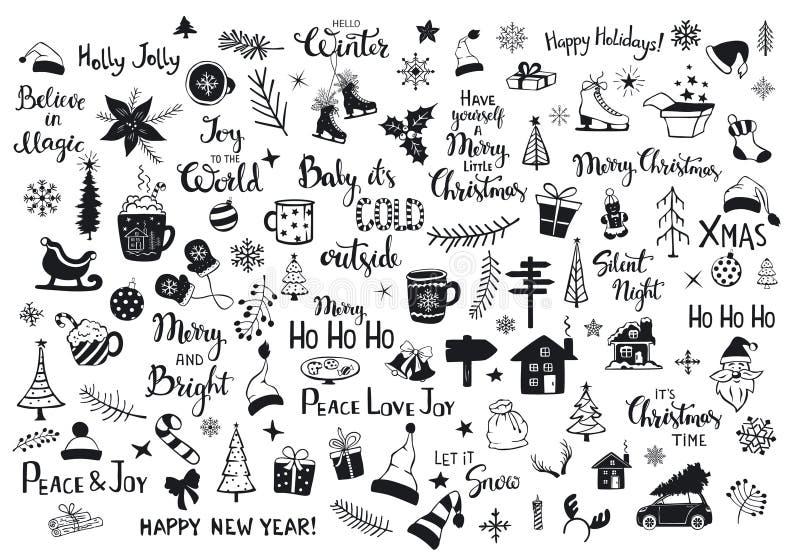 Kolekcja boże narodzenie nowy rok dekoraci rzeczy sylwetki i zarysowywający doodles royalty ilustracja