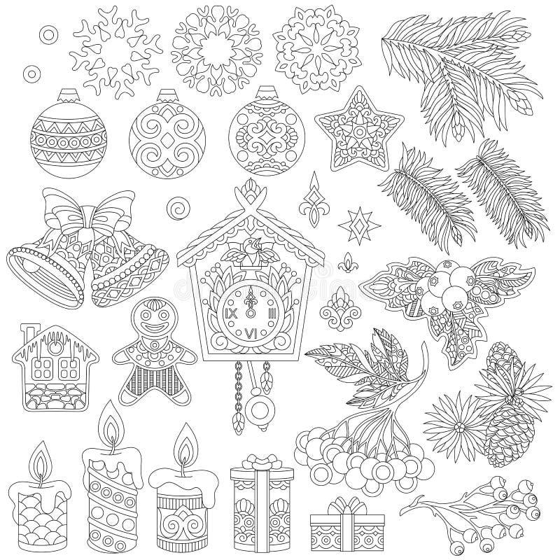Kolekcja Bożenarodzeniowi wystrojów ornamenty royalty ilustracja