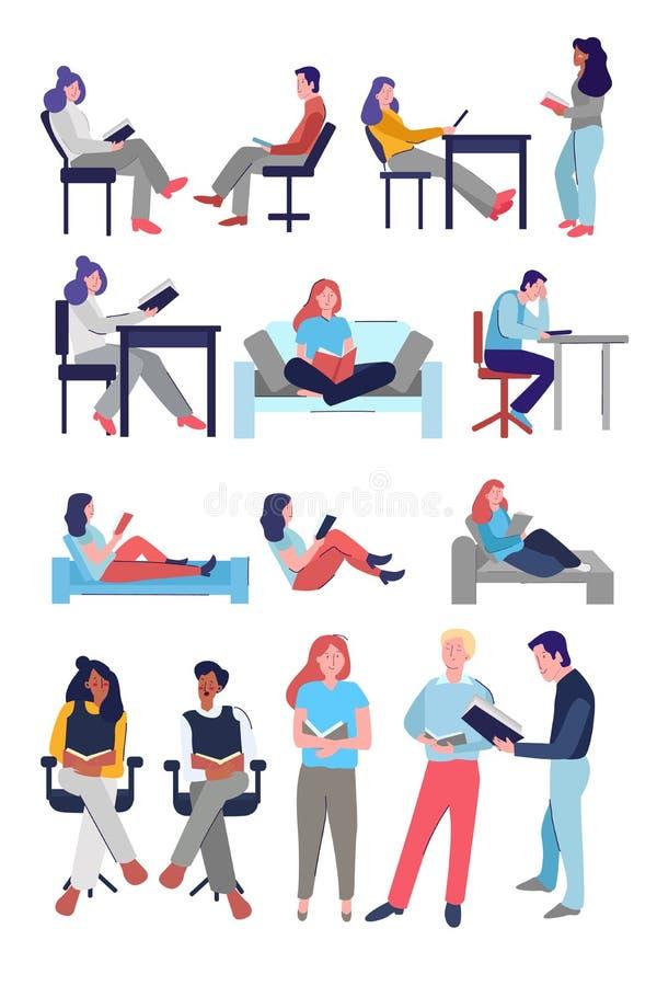 Kolekcja bohaterów rysunkowych: samiec siedzący i uczący się na stojąco czytający książkę student uniwersytetu obraz royalty free