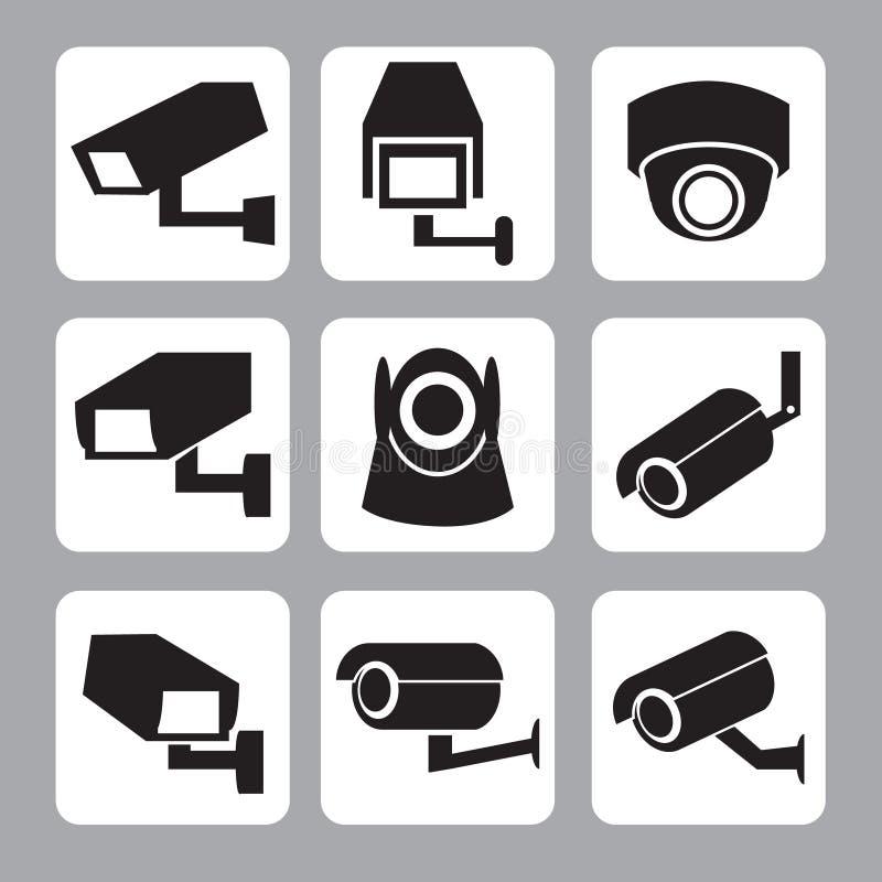 Kolekcja CCTV i kamery bezpieczeństwa wektoru ikona ilustracji