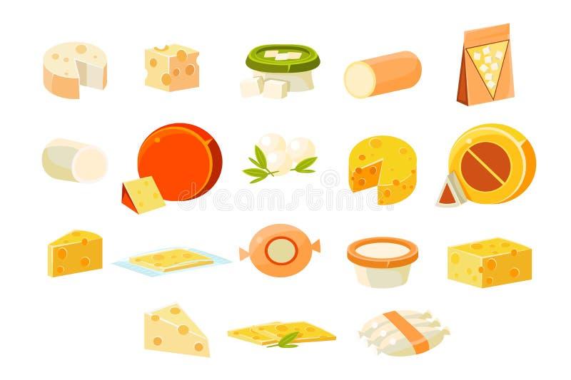 Kolekcja cheesets, kawałki popularni rodzaje cheeset wektorowe ilustracje na białym tle ilustracja wektor