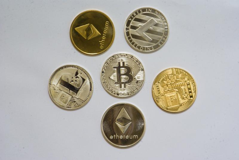 Kolekcja cryptocurrency monety zdjęcie stock