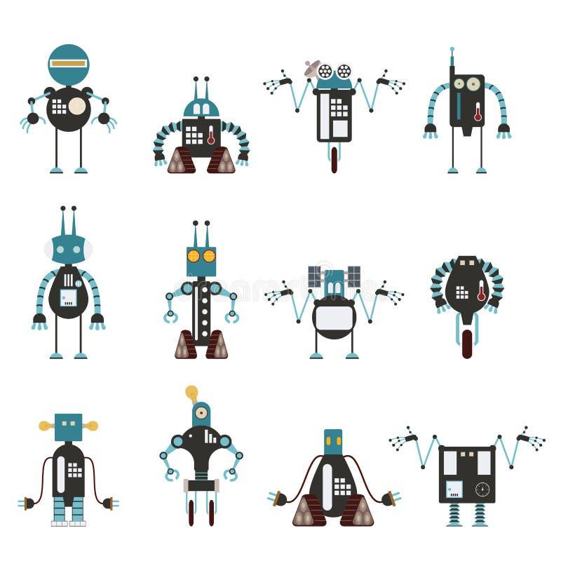 Kolekcja cyan robot ikony ilustracja wektor