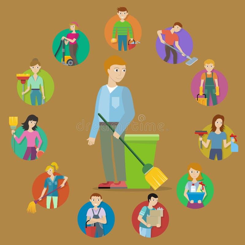 Kolekcja członek Cleaning Usługowy personel royalty ilustracja
