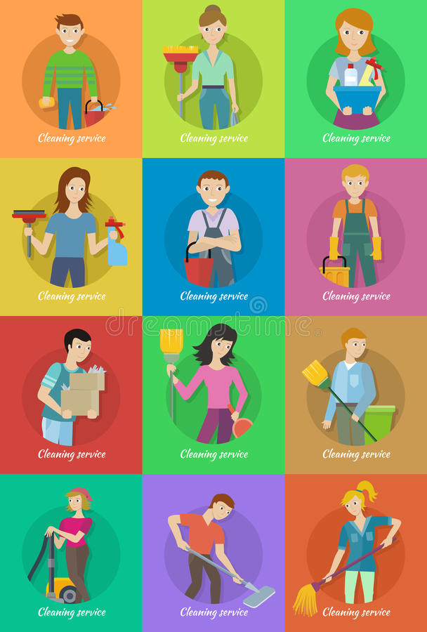 Kolekcja członek Cleaning Usługowy personel ilustracji