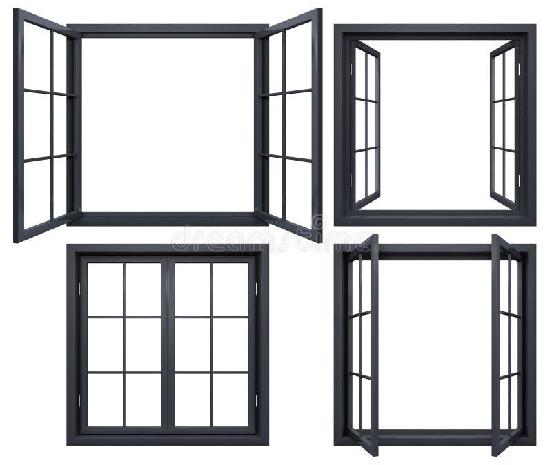 Kolekcja czarne nadokienne ramy odizolowywać na bielu ilustracji