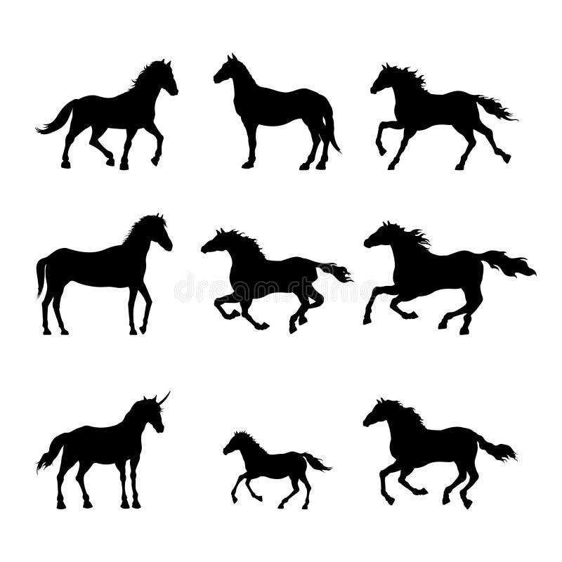 Kolekcja czarne sylwetki konie Odosobniony szczegółowy rysunek mustang na białym tle Boczny widok ilustracja wektor