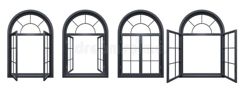 Kolekcja czarni łukowaci okno odizolowywający na bielu ilustracji