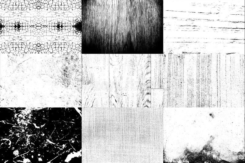 Kolekcja Czarny i biały tekstury use dla narzuty na wizerunku t zdjęcia stock