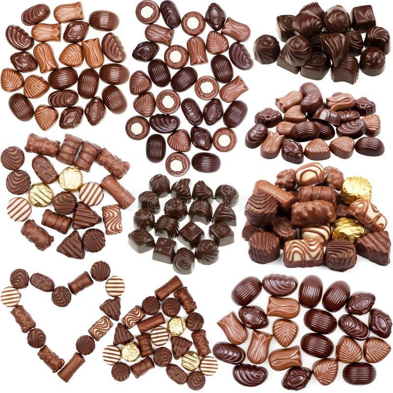 Kolekcja czekoladowych cukierków obrazki obraz stock