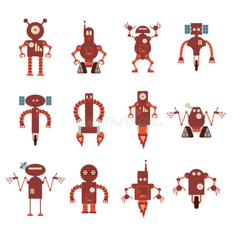 Kolekcja czerwone robot ikony royalty ilustracja