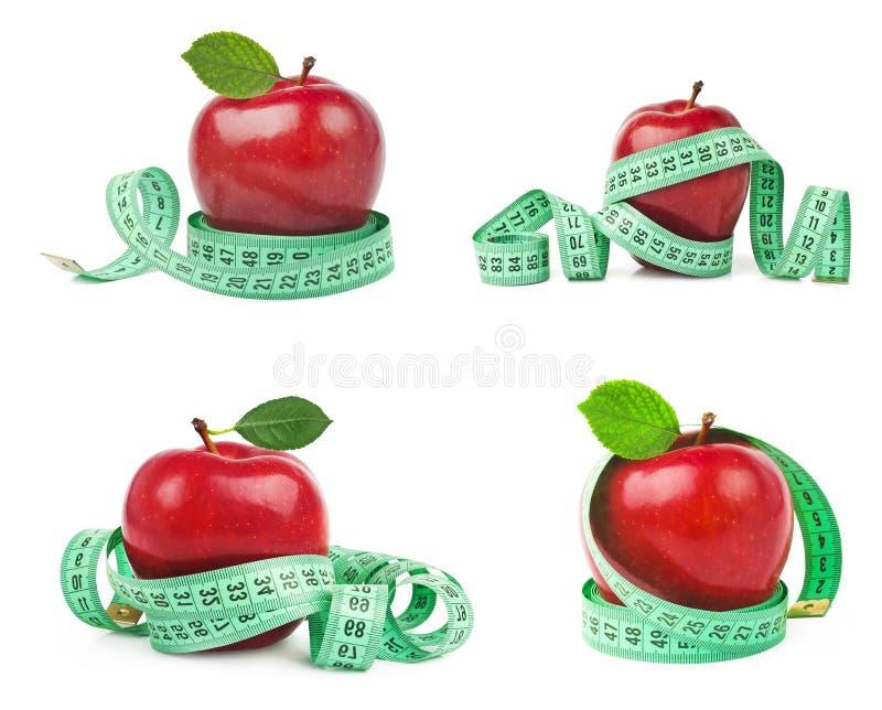 Kolekcja czerwonego applesand pomiarowa taśma na białym tle Zdrowy styl życia i diety pojęcie, obrazy royalty free